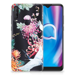 Alcatel 1S (2020) TPU Hoesje Bird Flowers