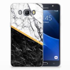 Samsung Galaxy J5 2016 TPU Siliconen Hoesje Marmer Wit Zwart - Origineel Cadeau Man
