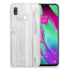 Samsung Galaxy A40 Bumper Hoesje White Wood