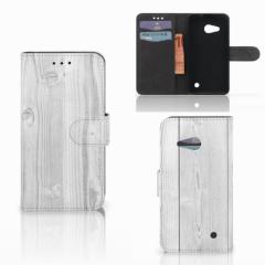 Microsoft Lumia 550 Book Style Case White Wood