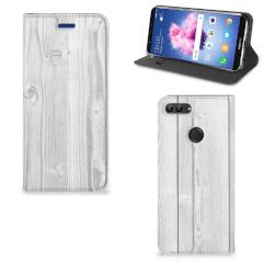 Huawei P Smart Book Wallet Case White Wood