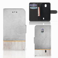 Nokia 1 Book Style Case Wood Concrete