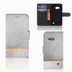 Microsoft Lumia 550 Book Style Case Wood Concrete