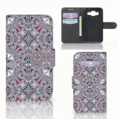 Samsung Galaxy Core Prime Bookcase Flower Tiles