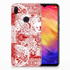 Silicone Back Case Xiaomi Redmi Note 7 Pro Angel Skull Rood