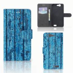 Huawei Ascend G7 Book Style Case Wood Blue