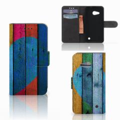 Microsoft Lumia 550 Book Style Case Wood Heart - Cadeau voor je Vriend