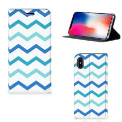Apple iPhone X   Xs Hoesje met Magneet Zigzag Blauw