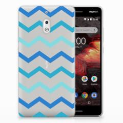 Nokia 2.1 (2018) TPU bumper Zigzag Blauw