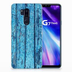 LG G7 Thinq Bumper Hoesje Wood Blue
