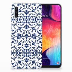 Samsung Galaxy A50 TPU Case Flower Blue