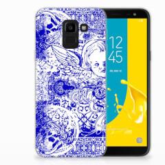 Silicone Back Case Samsung Galaxy J6 2018 Angel Skull Blauw