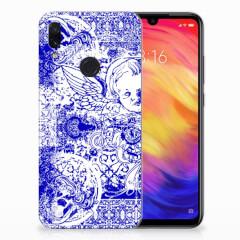 Silicone Back Case Xiaomi Redmi Note 7 Pro Angel Skull Blauw