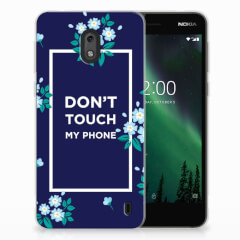 Nokia 2 Silicone-hoesje Flowers Blue DTMP