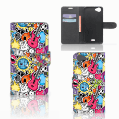 Wiko Rainbow Jam Wallet Case met Pasjes Punk Rock