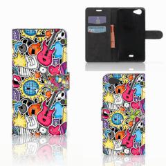 Wiko Pulp Fab 4G Wallet Case met Pasjes Punk Rock