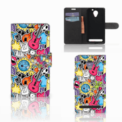 Lenovo C2 Power Wallet Case met Pasjes Punk Rock