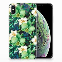 Apple iPhone Xs Max TPU Case Orchidee Groen