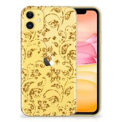 Apple iPhone 11 TPU Case Gouden Bloemen