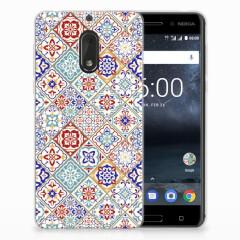 Nokia 6 TPU Siliconen Hoesje Tiles Color