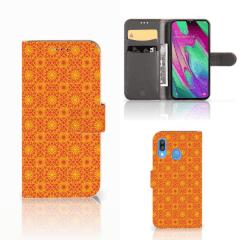 Samsung Galaxy A40 Telefoon Hoesje Batik Oranje