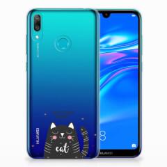Huawei Y7 2019 Telefoonhoesje met Naam Cat Good Day